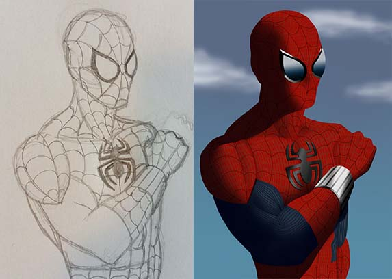 Spider-Man sketch and digital coloring 2