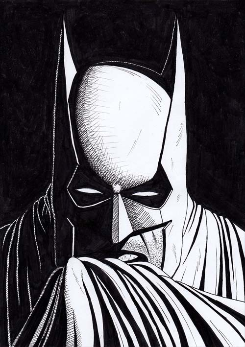 Batman drawing black and white mirrored