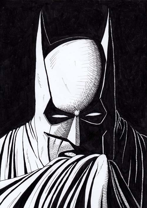 Batman drawing black and white