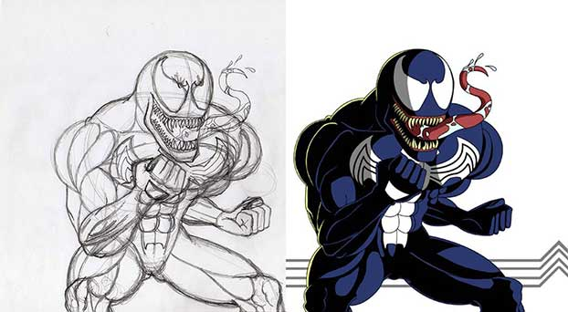 Venom sketch and digital coloring
