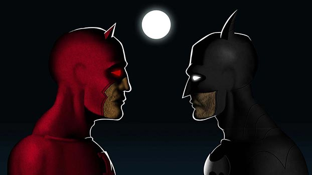 Daredevil vs Batman digital art