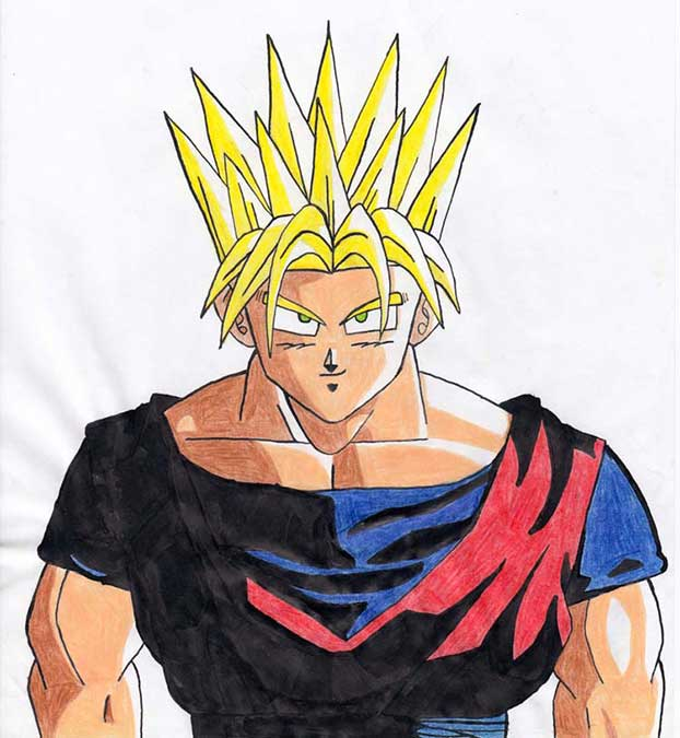 Gohan drawing colored pencils