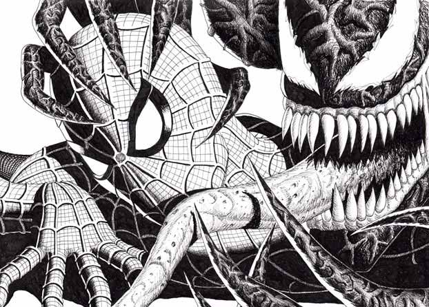 Spider-Man vs Venom ink drawing