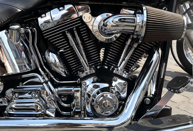 chrome parts of a motorcycle