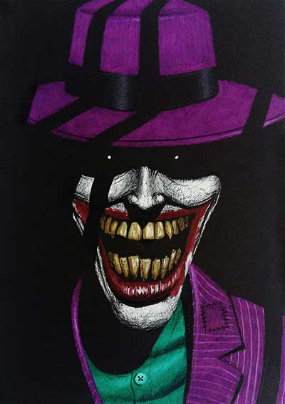 joker drawing on black paper