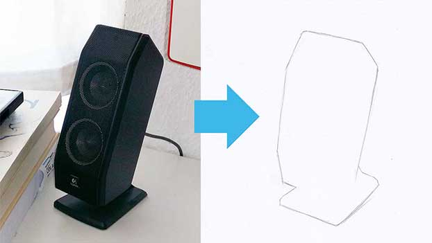 outline drawing of a speaker