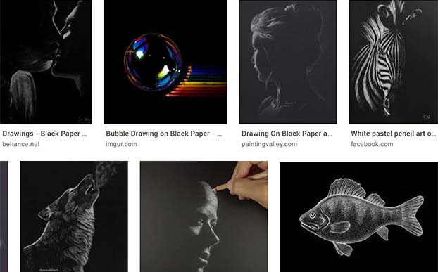 google search of black paper drawings