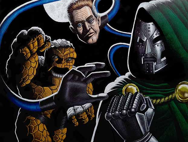 Dr. Doom vs Fantastic Four drawing with a backlight