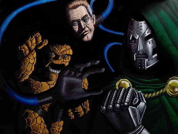 Dr. Doom vs Fantastic Four drawing without a backlight