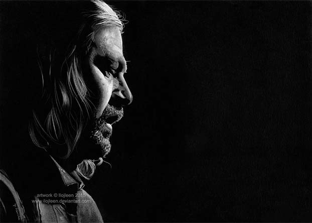 Ned Stark drawing on black paper by Ilojleen