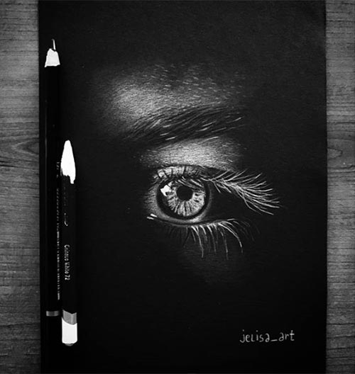 eye drawing with white pencil by jelisa