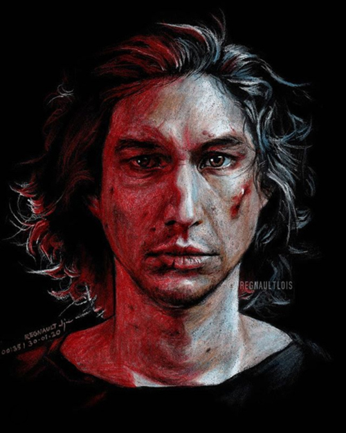 Kylo Ren drawing on black paper by Regnault Lois