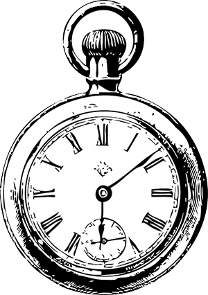 black and white clock drawing