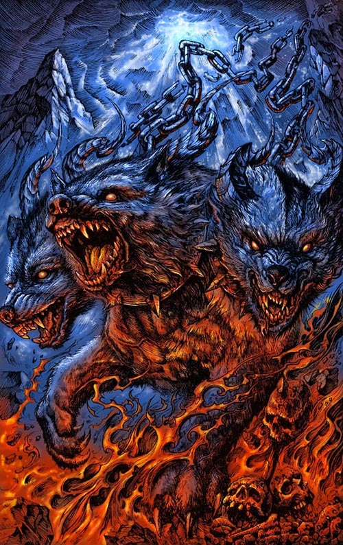 cerberus drawing in orange and blue
