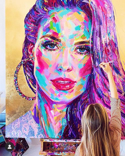 colorful painting of a women's face
