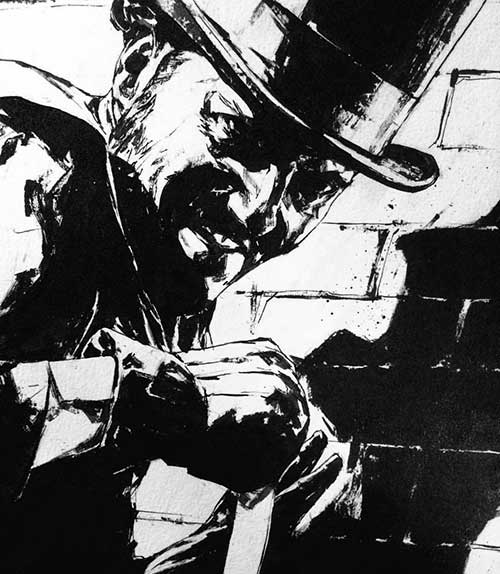 drawing of a guy with a top hat