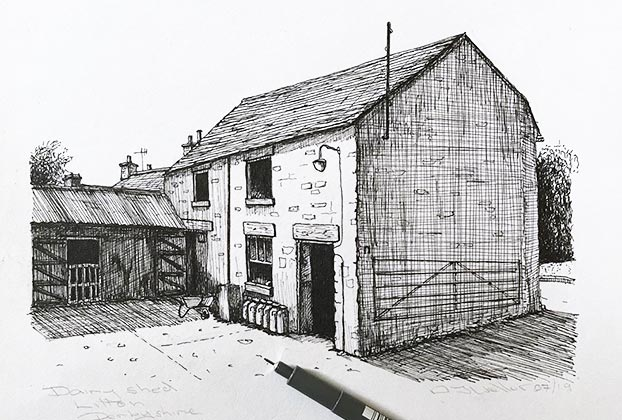 pen and ink barn drawing