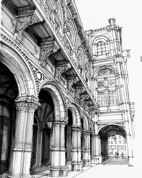 drawing of the vienna opera house