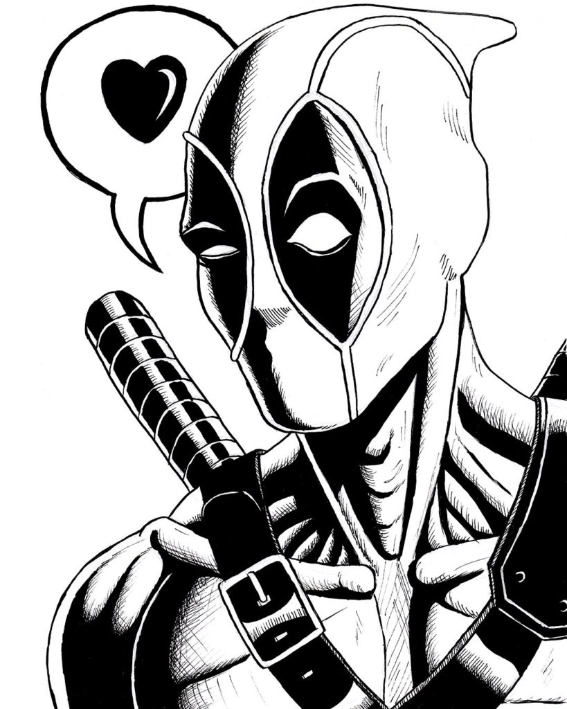 deadpool pen and ink drawing