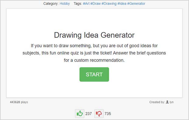 quizony drawing idea generator