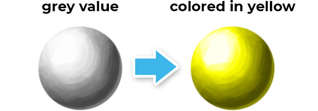 grey sphere colored in yellow