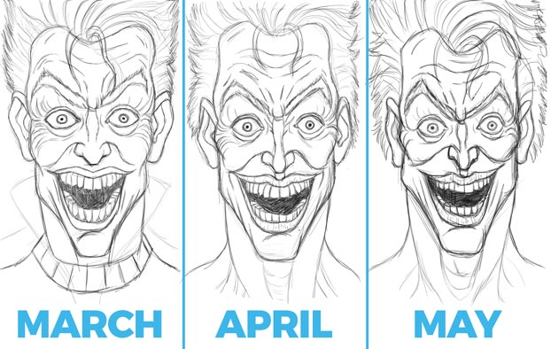 joker sketches, not challenging yourself in art