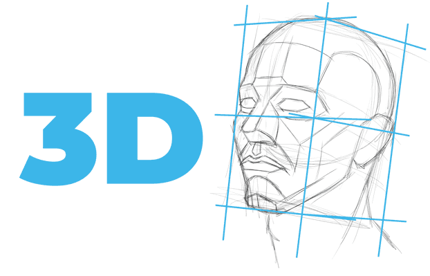 planes of the head 3D drawing