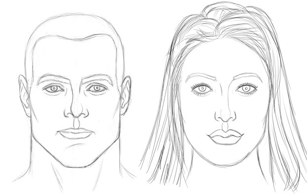 face drawing of man and woman