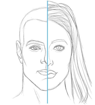 face drawing, difference between man and woman