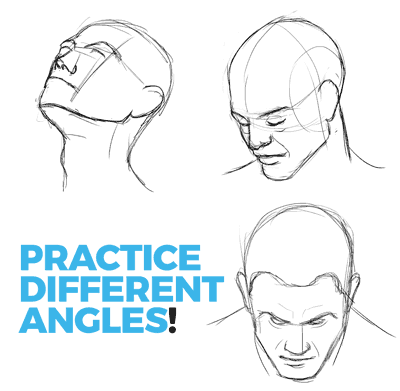 practice drawing the head from different angles