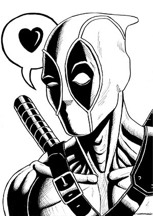 deadpool drawing pen and ink