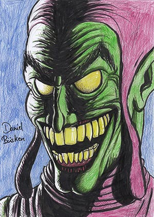 green goblin drawing colored pencils