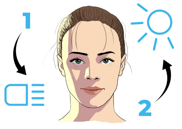 drawing of a face lit by two light sources