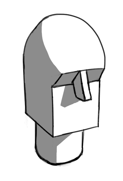shadows on a head made of basic shapes