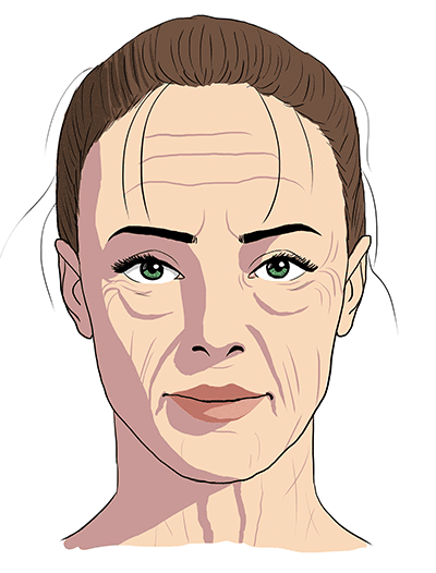 drawing shadows on a wrinkled face