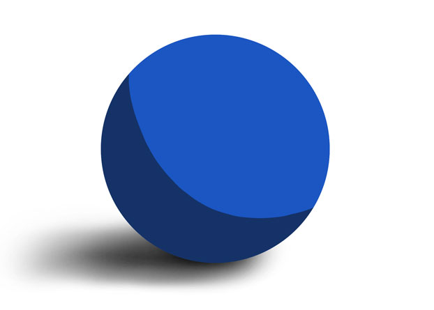a sphere shaded with one shadow and one light value