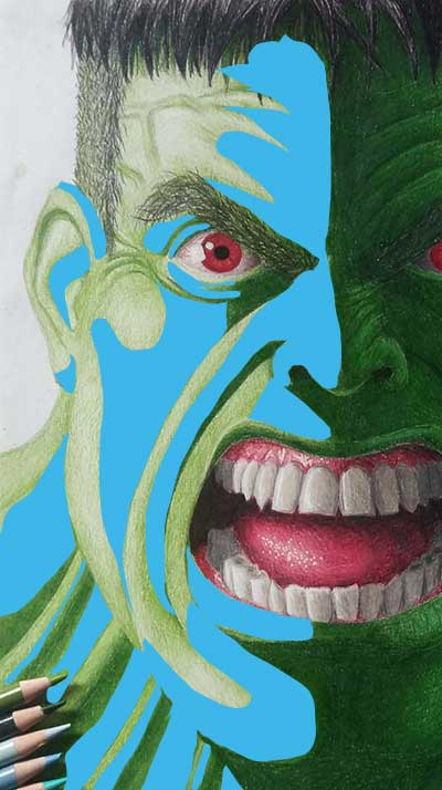 midtones in a colored pencil drawing of Hulk