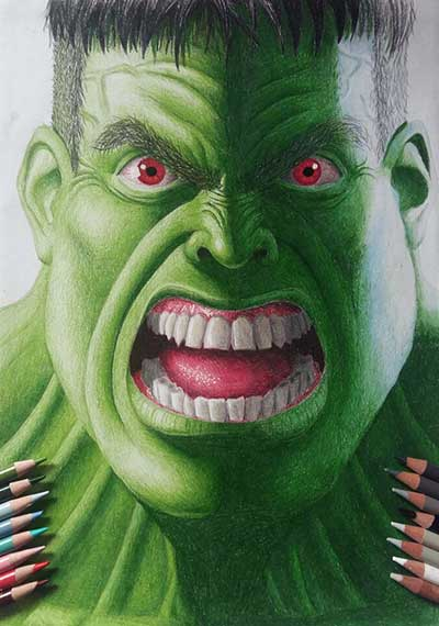 colored pencil drawing of the Hulk