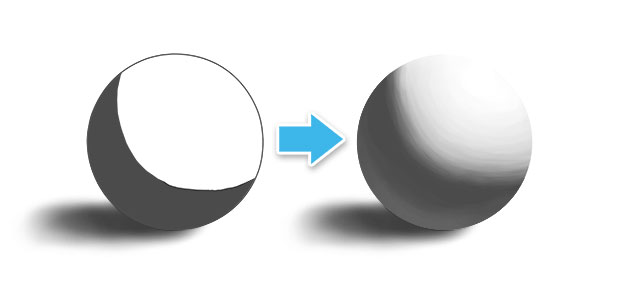 a sphere painted with and without midtones