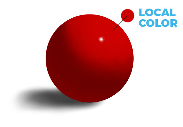 example of local color in a red ball