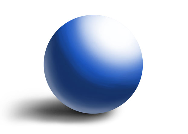 big highlight on a blue sphere